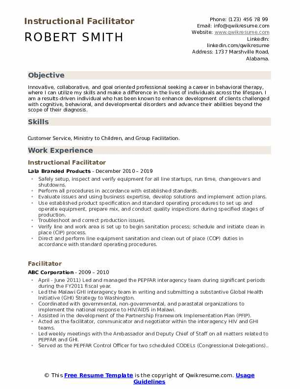Instructional Facilitator Resume Example