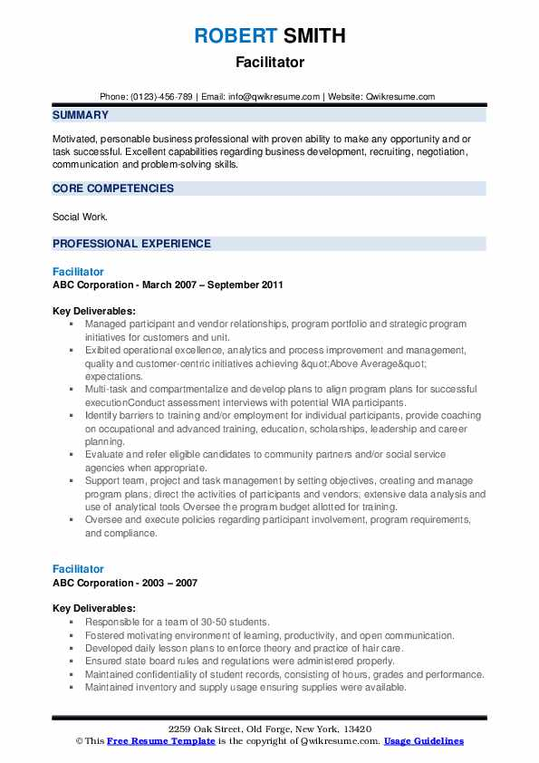 Facilitator Resume example