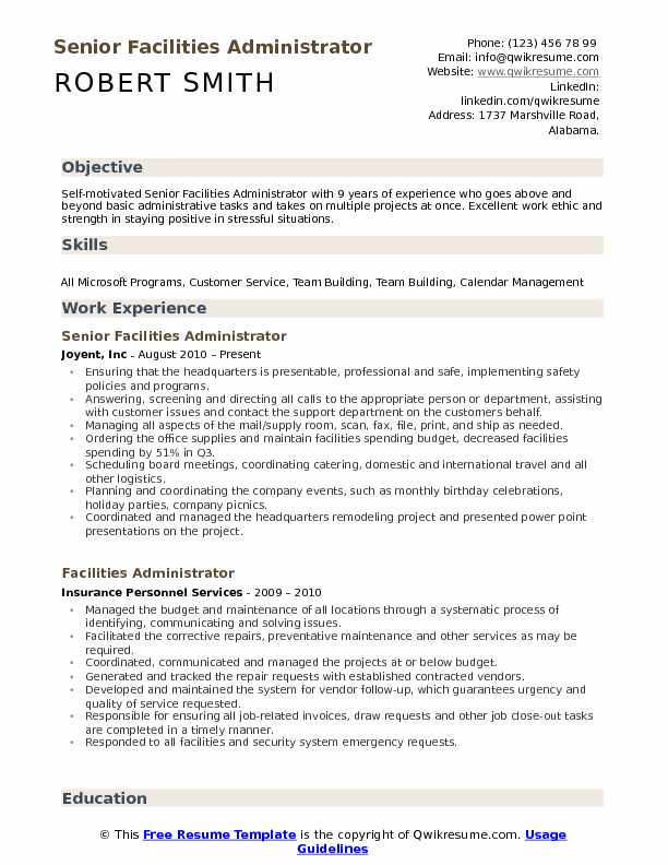 Facilities Administrator Resume Samples | QwikResume