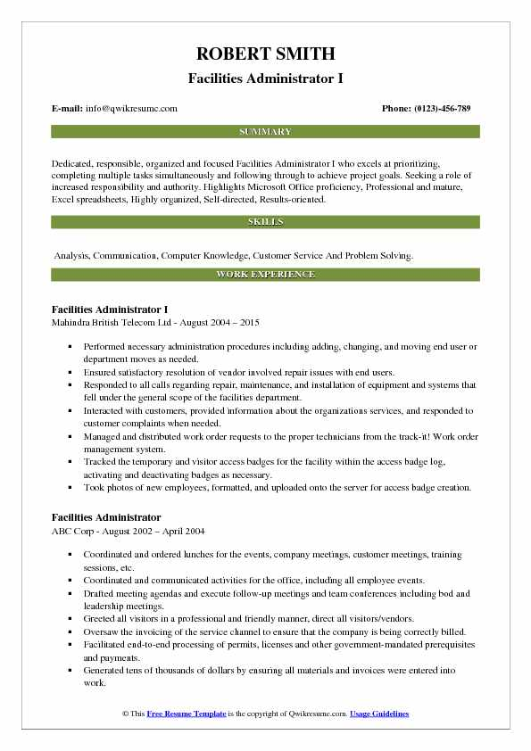 Facilities Administrator I Resume Example