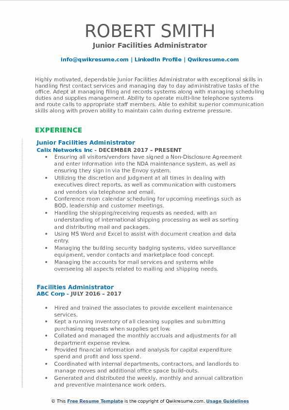 Junior Facilities Administrator Resume Example