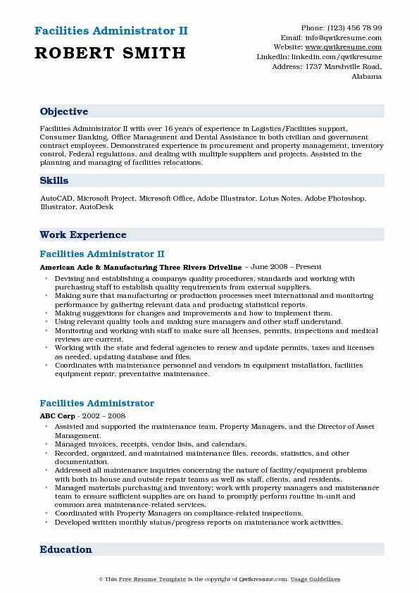 Facilities Administrator II Resume Sample