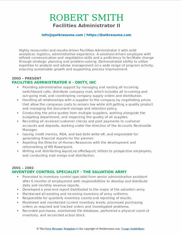 Facilities Administrator II Resume Template