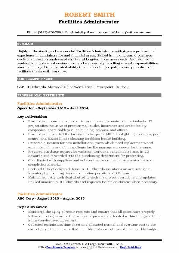 Facilities Administrator  Resume Template