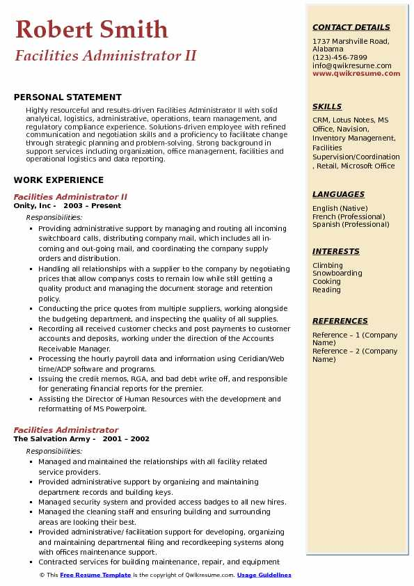 Facilities Administrator II Resume Example