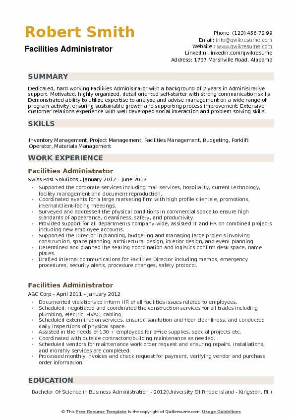 Facilities Administrator Resume example