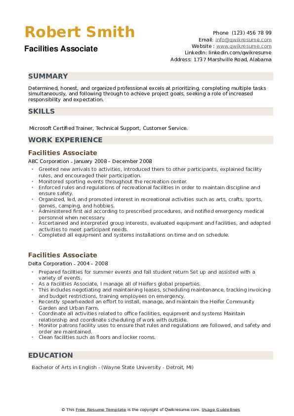 Facilities Associate Resume example