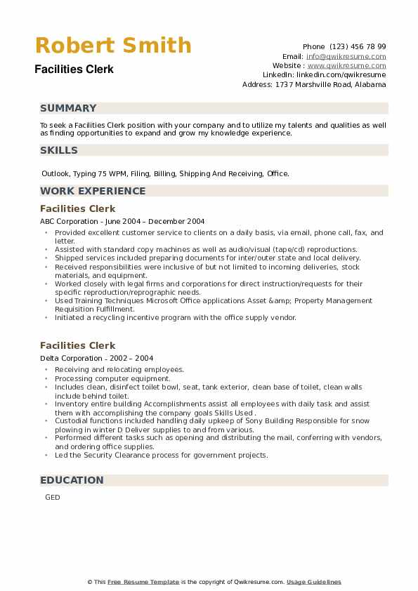 Facilities Clerk Resume example