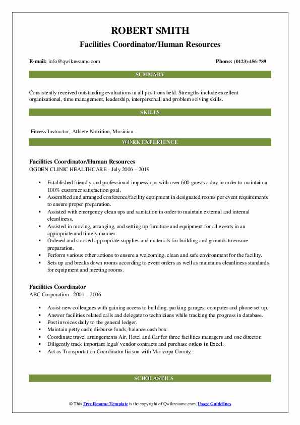 Facilities Coordinator/Human Resources Resume Format