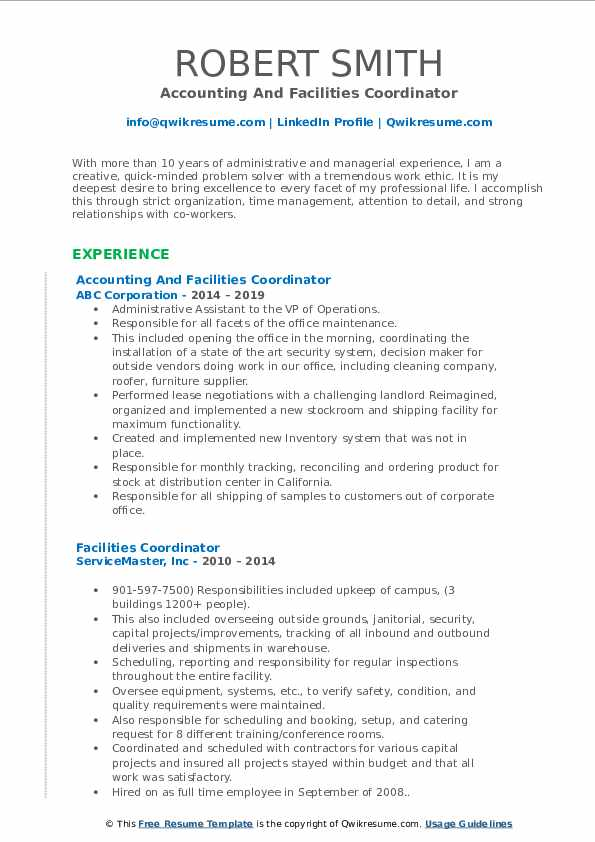 Accounting And Facilities Coordinator Resume Format