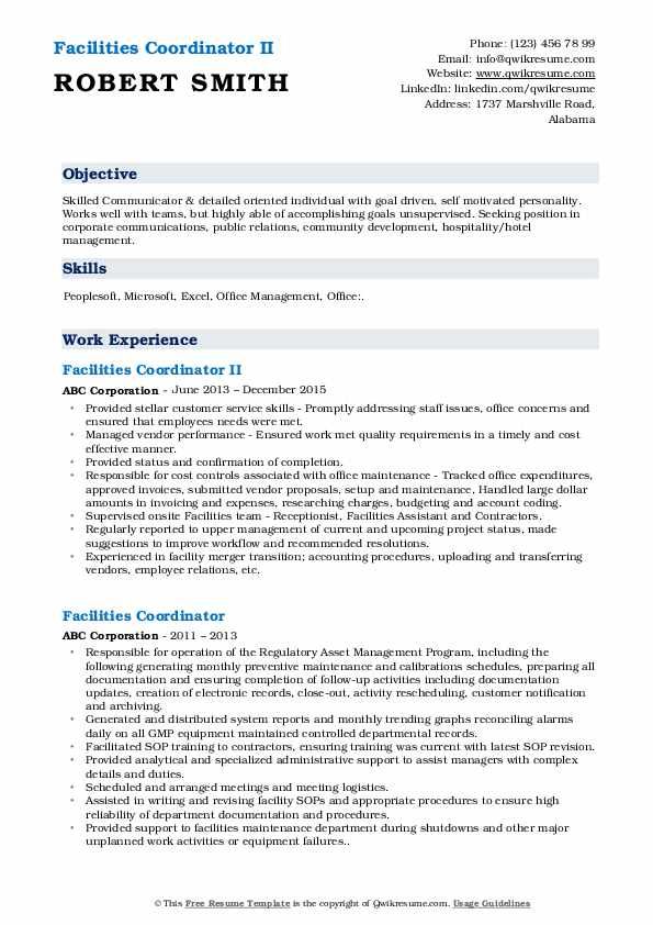 Facilities Coordinator II Resume Model