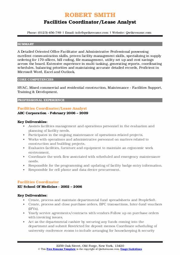 Facilities Coordinator/Lease Analyst Resume Sample