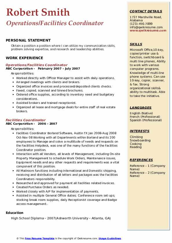 Operations/Facilities Coordinator Resume Template