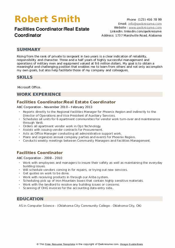 Facilities Coordinator/Real Estate Coordinator Resume Template