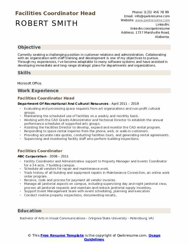 Facilities Coordinator Head Resume Format