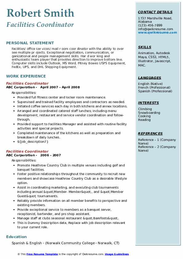 Facilities Coordinator Resume example