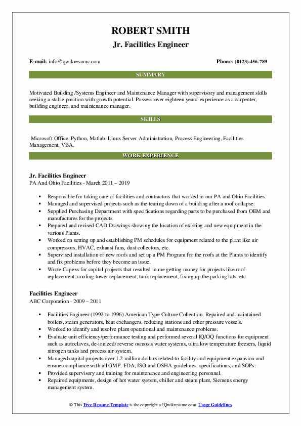 Jr. Facilities Engineer Resume Format