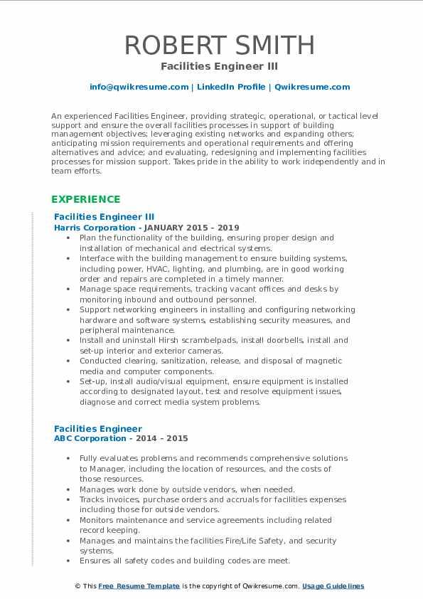 Facilities Engineer III Resume Sample