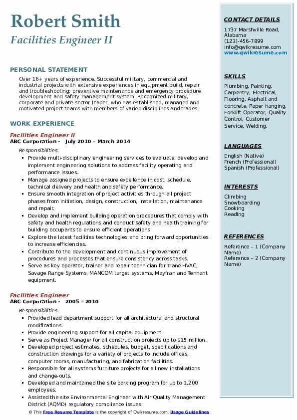 Facilities Engineer II Resume Example