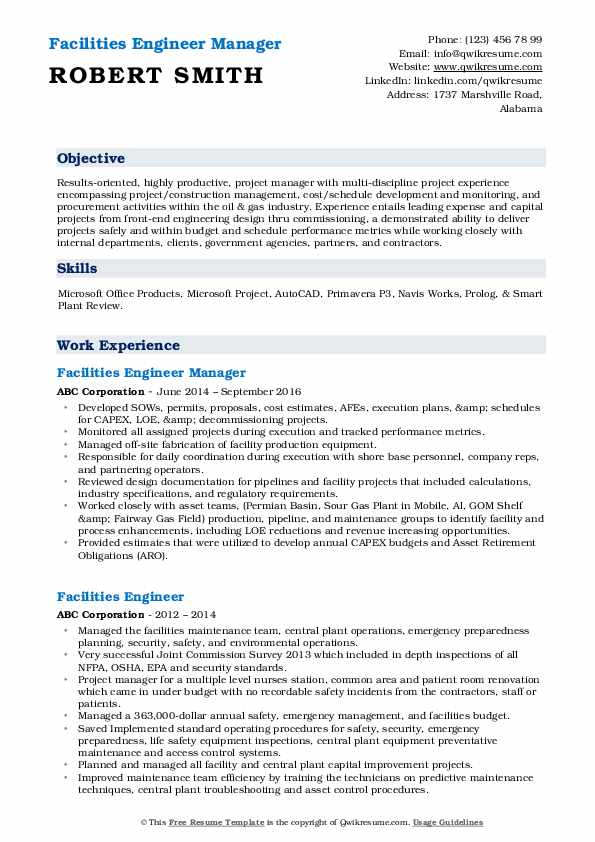 Facilities Engineer Manager Resume Example