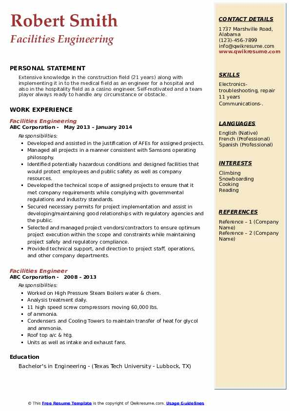 Facilities Engineer Resume Samples Qwikresume