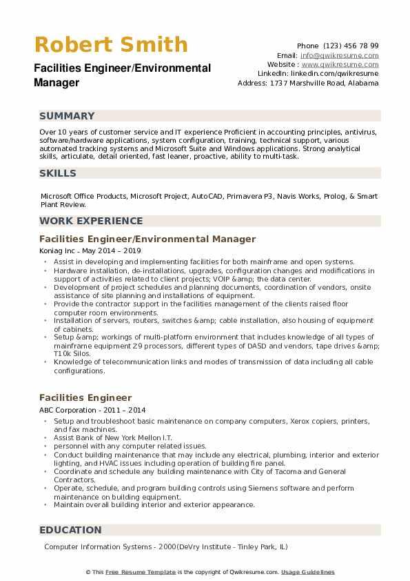 Facilities Engineer/Environmental Manager Resume Template