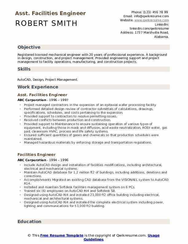 Asst. Facilities Engineer  Resume Model