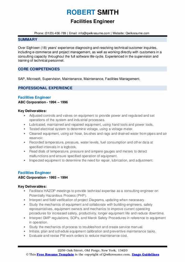 Facilities Engineer Resume example