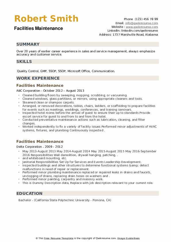 Facilities Maintenance Resume example