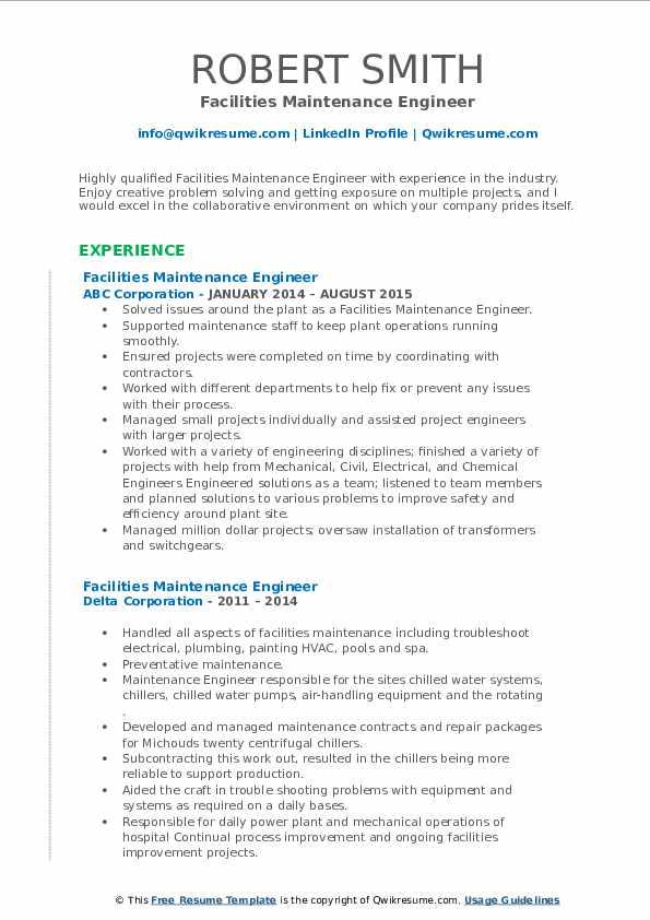 facilities maintenance engineer resume samples  qwikresume