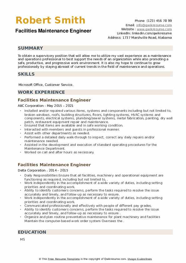 Facilities Maintenance Engineer Resume example