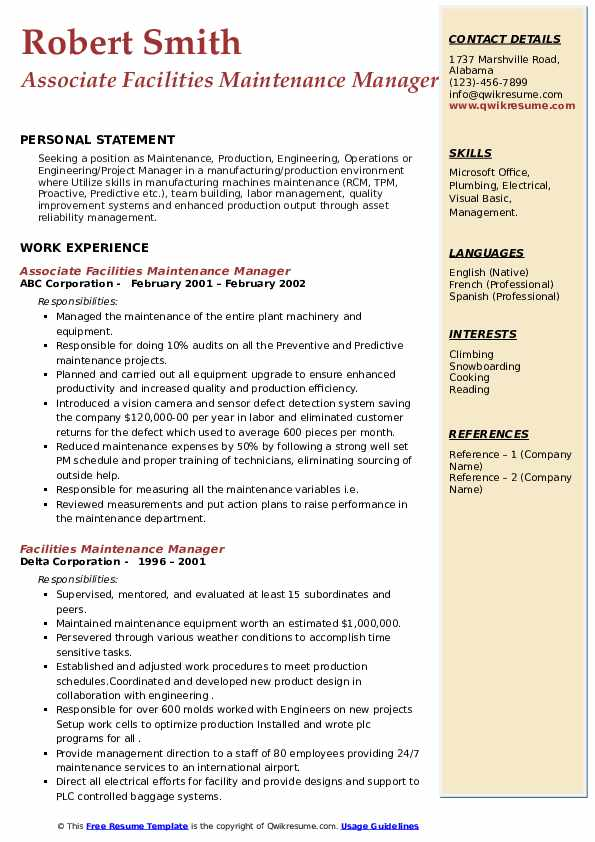 facilities maintenance manager resume samples  qwikresume