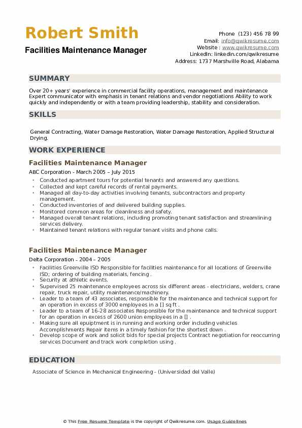 Facilities Maintenance Manager Resume example