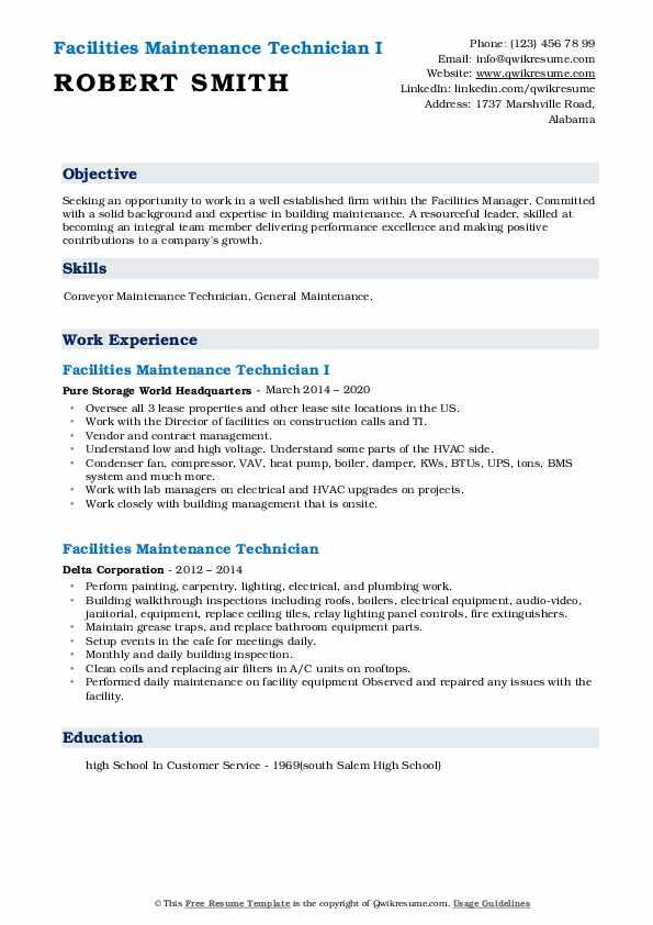 facilities maintenance technician resume samples