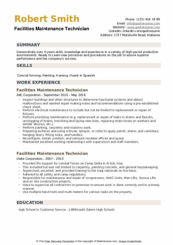 Facilities Maintenance Technician Resume example