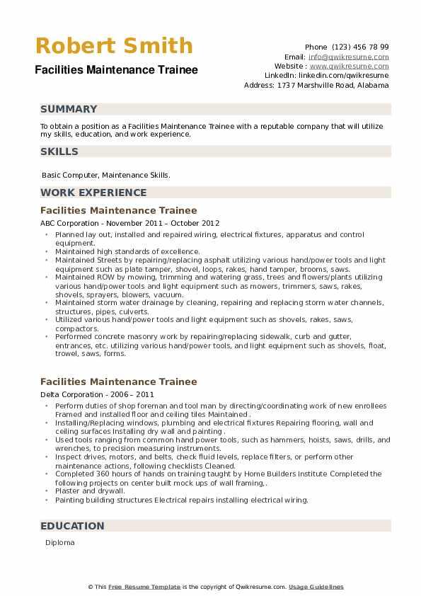 Facilities Maintenance Trainee Resume example