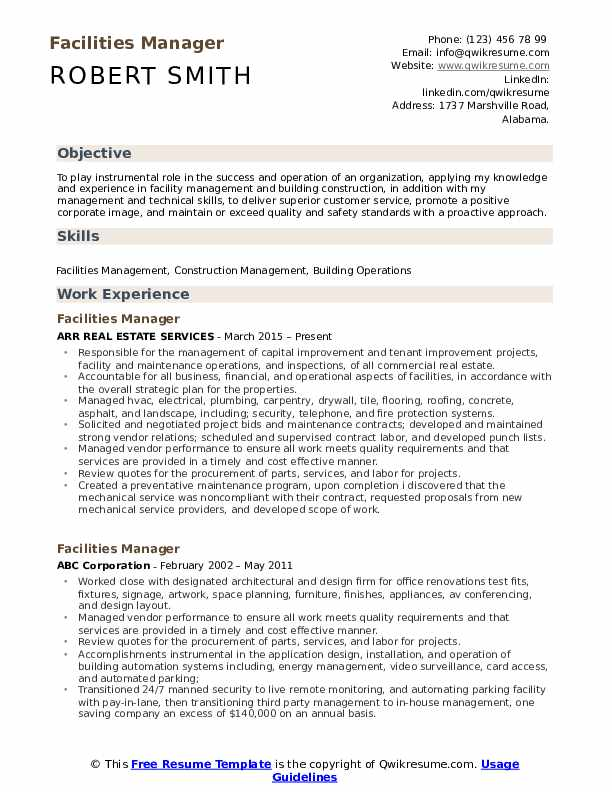 Facilities Manager Resume Model