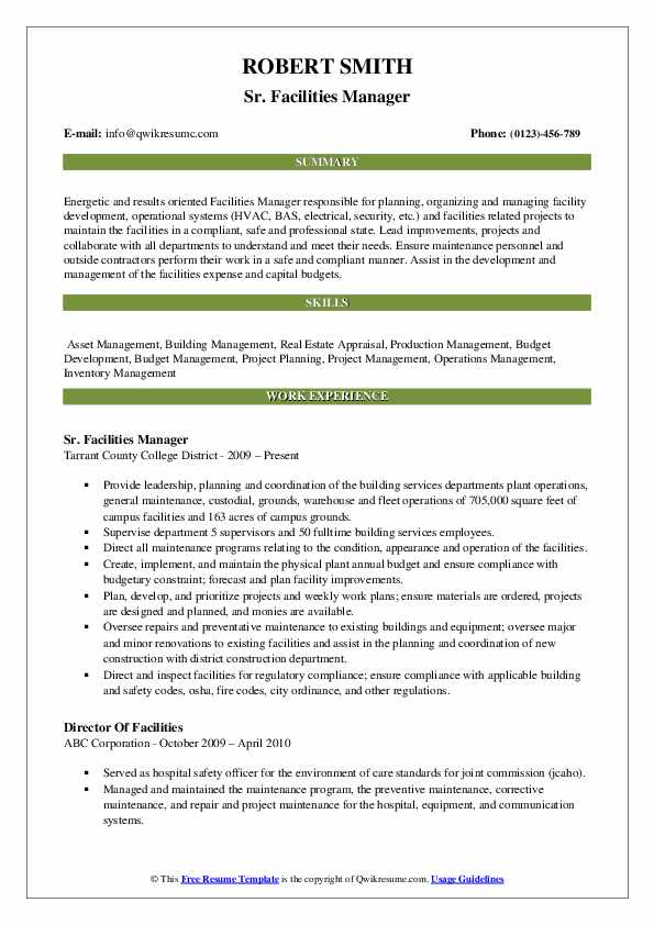 Sr. Facilities Manager Resume Format