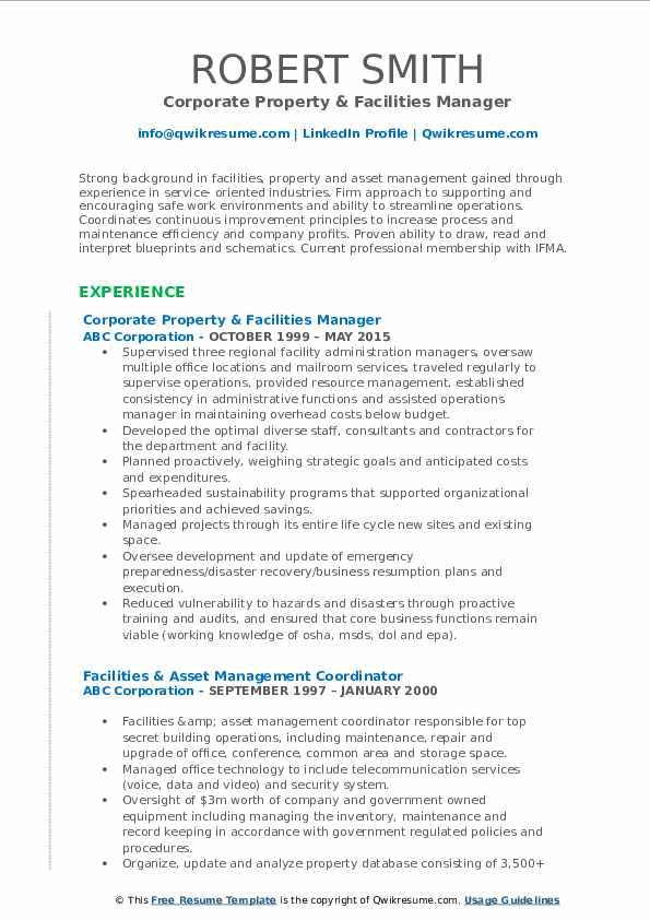 Corporate Property & Facilities Manager Resume Sample