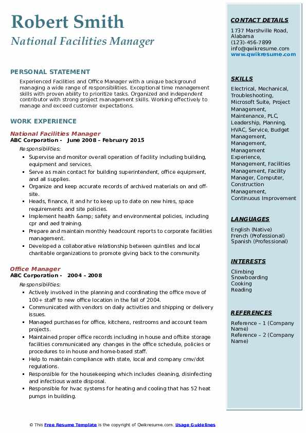National Facilities Manager Resume Format