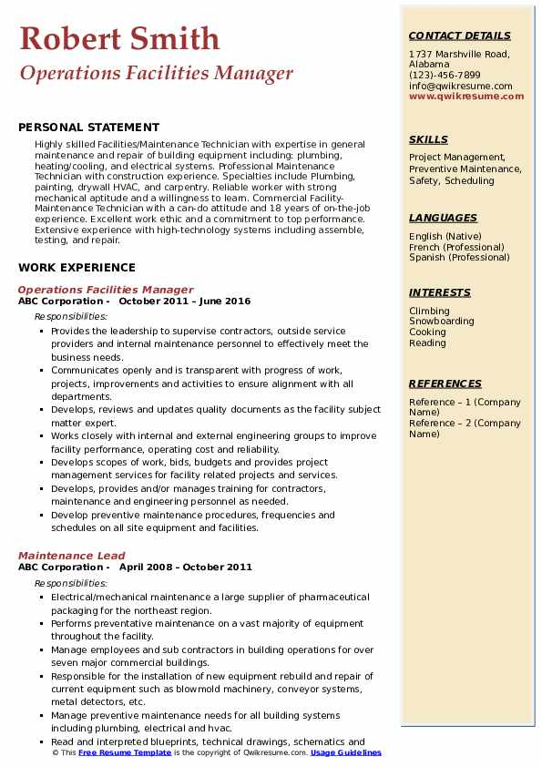 Facilities Manager Resume example