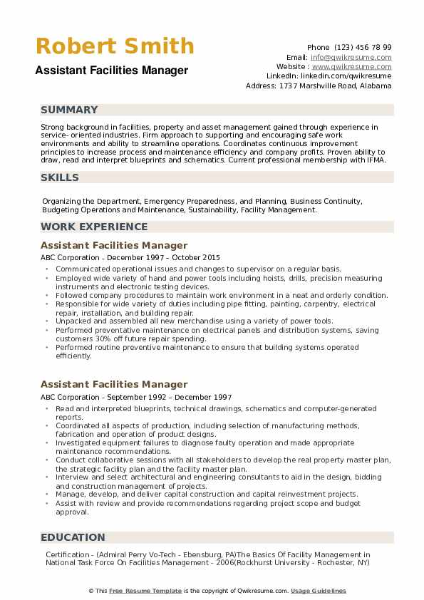 Assistant Facilities Manager Resume Model