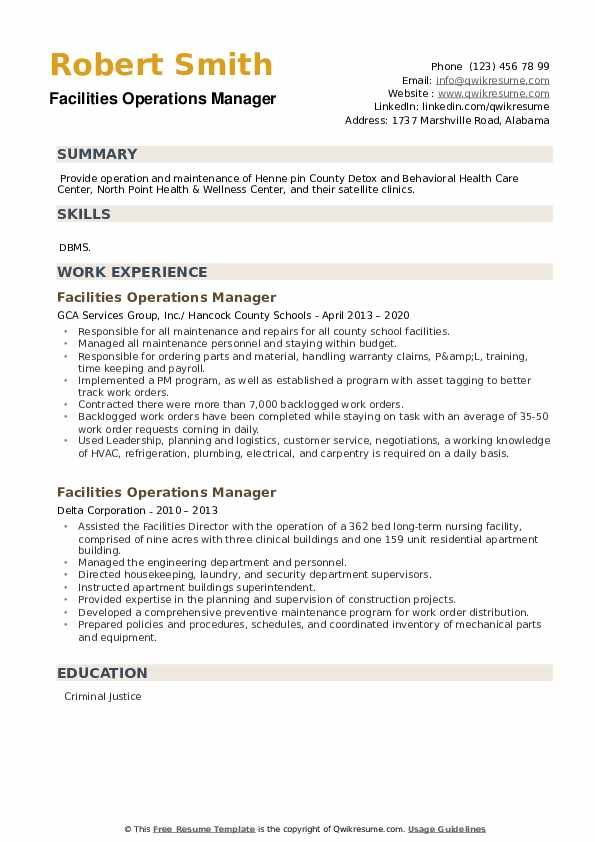 Facilities Operations Manager Resume example