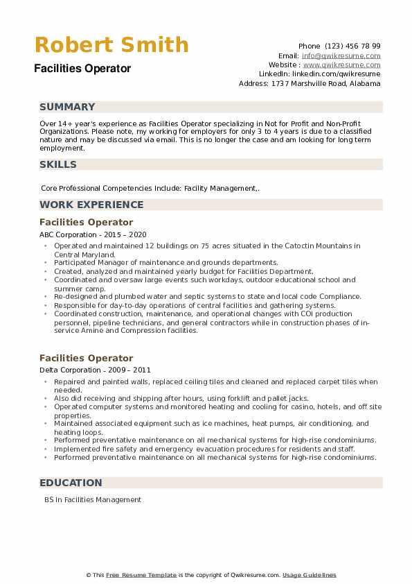 Facilities Operator Resume example