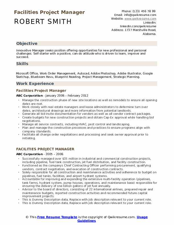 Facilities Project Manager Resume example