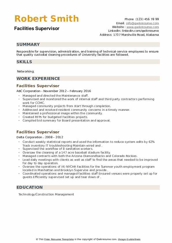 Facilities Supervisor Resume example