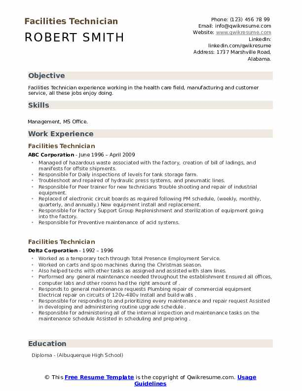 Resume facility technician resume templates for someone who has never worked