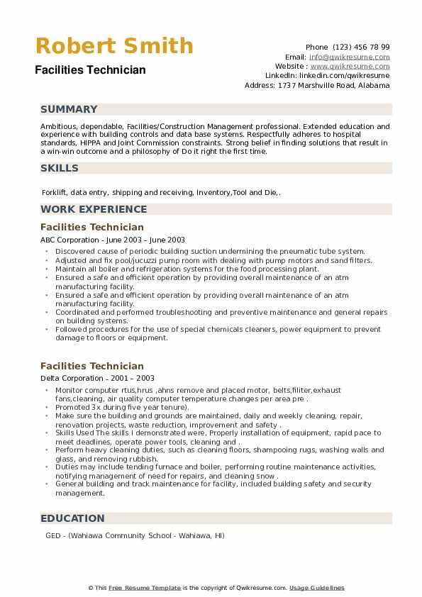 Facilities Technician Resume example
