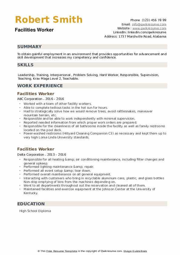 Facilities Worker Resume example