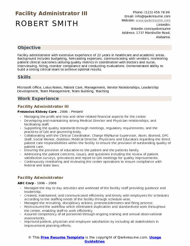 Facility Administrator III Resume Format